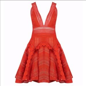NWT THURLEY Orange Mandarin Lace Mini Dress.